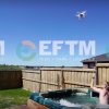 Man uses drone to deliver food to friend in a hot tub