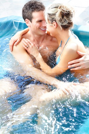 couples improving relationships with hot tubs