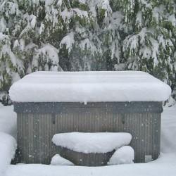 winter stress snow hot tub
