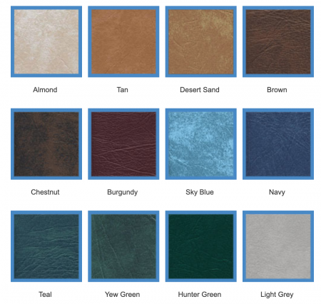 Grid of hot tub cover vinyl colour swatches