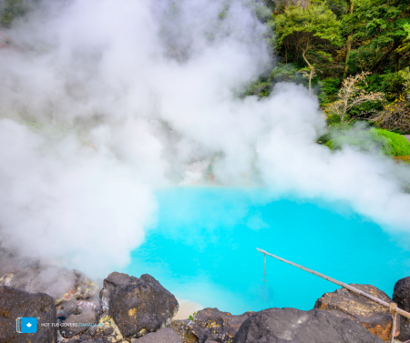 japanese hot springs with steam rising